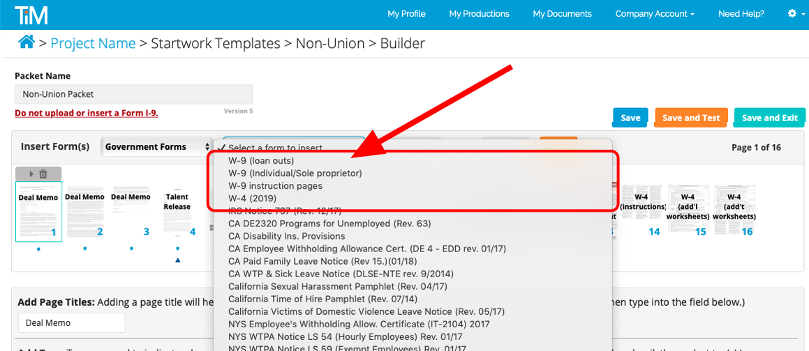 Builder_Startwork_Templates_Non_Union_Government_Forms_second_drop_down_W-9_W-4_indicated.png
